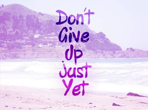 Not Giving Up Hope: Don't give up just yet