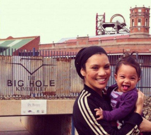 Images From South Africa: Aliya and I in front of the Famous Big Hole Entrance