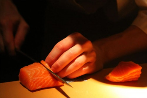 The Dream Process salmon cutting photographed by Andy Chou