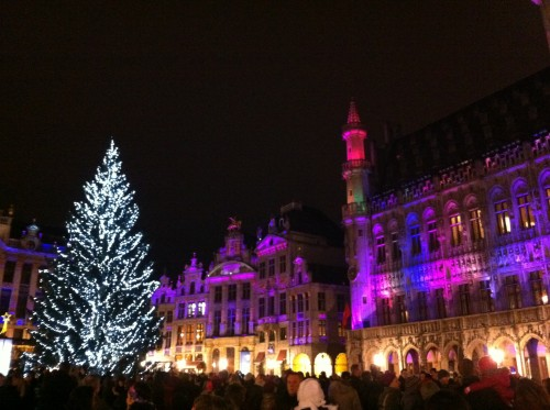 Brussels Grand Place sound and light show Winter Pret