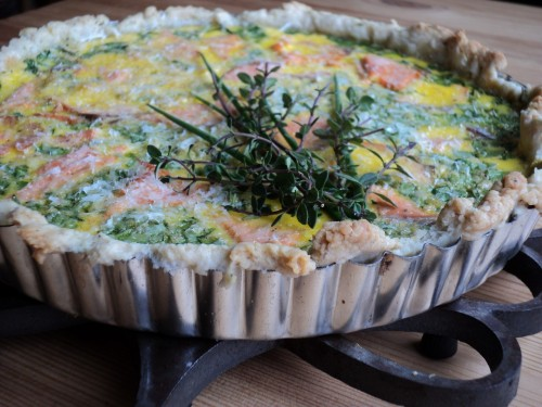 Spring has Sprung: Wild poached salmon, spinach and garden herb quiche