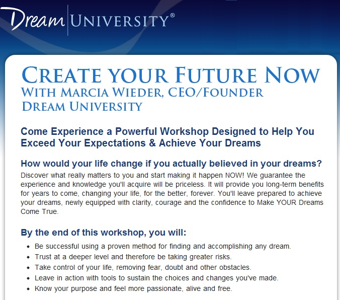 An Interview With Dream University Founder Marcia Wieder Part 1