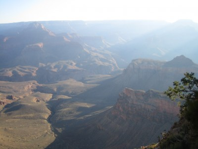 looking down at the grand canyon