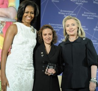 Hillary Clinton and Jineth Lima and Michelle Obama