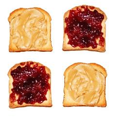 Peanut butter and jelly on bread