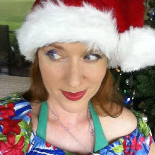 Finding Happiness in a Tropical Christmas -- Lisa playing Santa