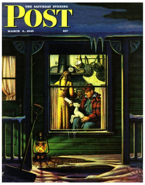 American Dream: Bottle Feeding A Lamb Saturday Evening Post Cover 1945