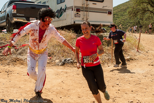 Heather avoiding zombie Elvis