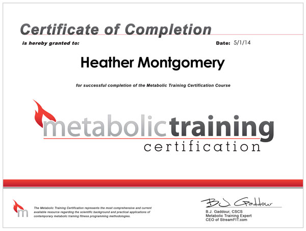 Heather Fitness Certification