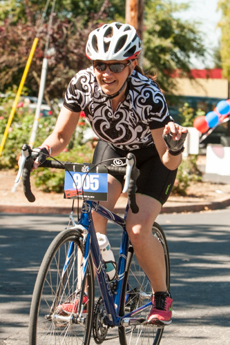 Heather at the finish line, 2013 Le Tour de Fuzz