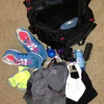 What's in your workout bag? Here's Heathers bag contents for run and bike