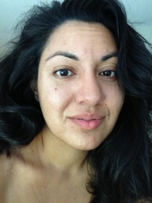 "Makeup free selfie. ""Blemishes"", sleepy eyes, crazy morning hair and all."
