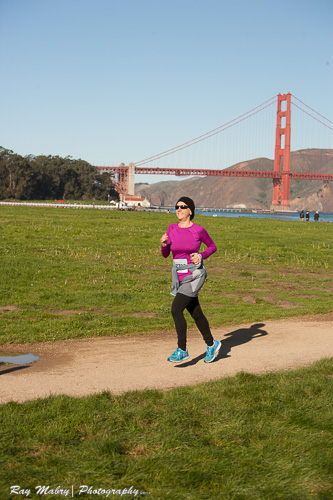 Heather's First 10k Mermaid Run with Golden Gate in background