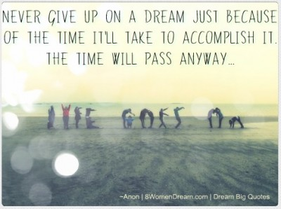 50 Most Inspiring Dream Big Quotes: Never give up on a dream quote
