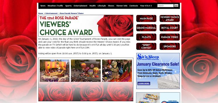 Give Me 2 Weeks In So California and I'll Give You a Rose Parade Float - My float and the Viewers Choice Award