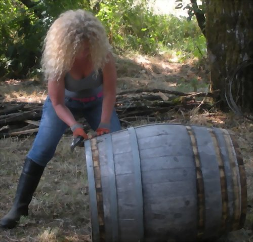 Dream Achievement: Me Breaking down the wine barrels