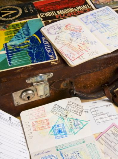 Travel Dreams: Passport, Boarding Pass, Travel Documents and Luggage