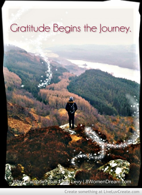 Why gratitude? Because gratitude begins the journey inspirational picture quote