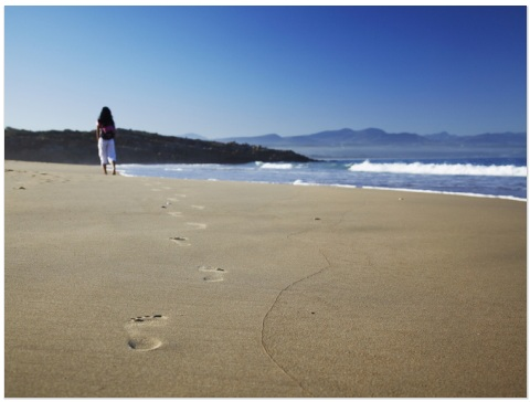 Walking on Beach, Plettenberg Bay, Western Cape, South Africa, Africa