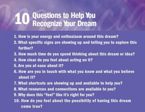 Marcia Wieder's 10 questions to help you find your dream