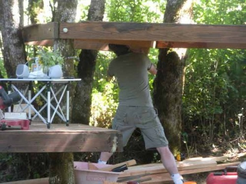 Living on a Vineyard Farm: Bryan helping with the treehouse