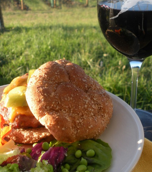 Making the Most of Seasonal Eating: Turkey, cheddar burger with pickled jalepenos, garden salad and Oregon pinot noir:)