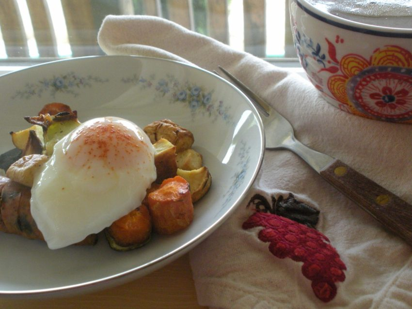 Weight Loss Story: Poached egg on roasted vegetables with turkey sausage