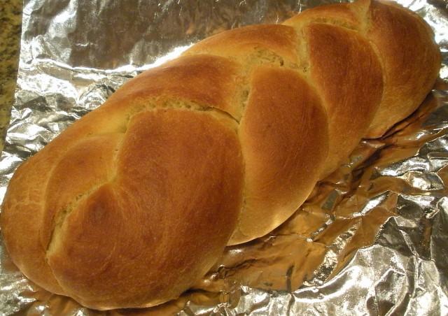 Savory challah-pumpkin bread.