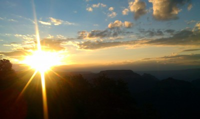 Sunrise at the North Rim of the Grand Canyon. Point Sublime.