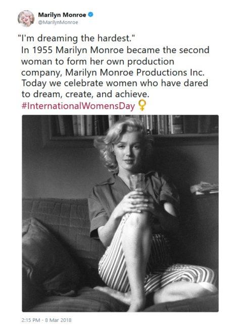 International Women's Day Tweets for Women Dreamers: MarilynMonroe