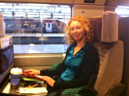 Natasha kicking back on the Eurostar to Paris
