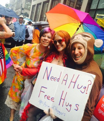 New York City Pride March Giving Away Free Hugs and Connecting with other activists