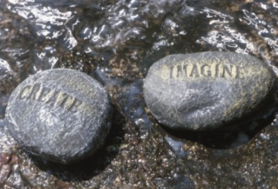 Vision Plan: Rocks with the Words Imagine and Create in Water buy at Art.Com