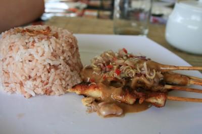 Satay and natural rice - Bali food
