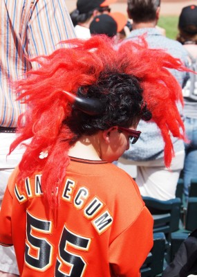 Images of Spring Training Dreams: Crazy fan with orange and black hawk hair