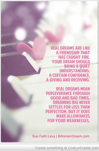 A Valentine's Day Thank You Message to Make You Think About Your Dream - Quote about dreaming big by Sue Levy