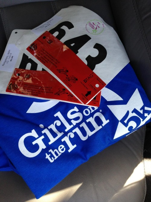 Girls on the Run 5k race bibs and shirts
