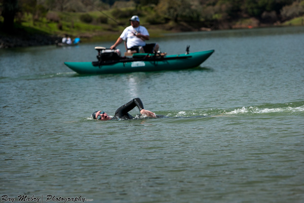 Sharing the lake while open water swimming - Heather