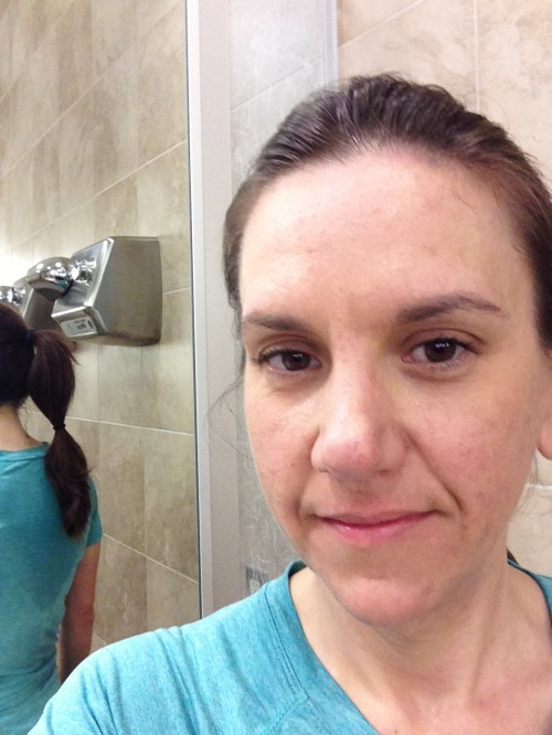Heather post workout - makeup is gone, and I'm sweaty, but survived!