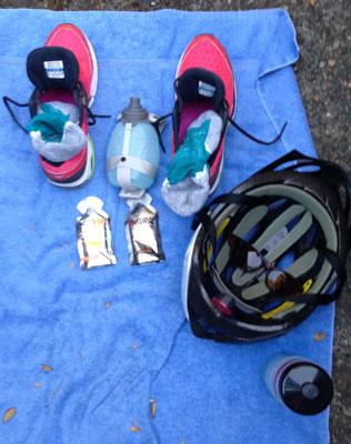 Heather triathlon transition setup