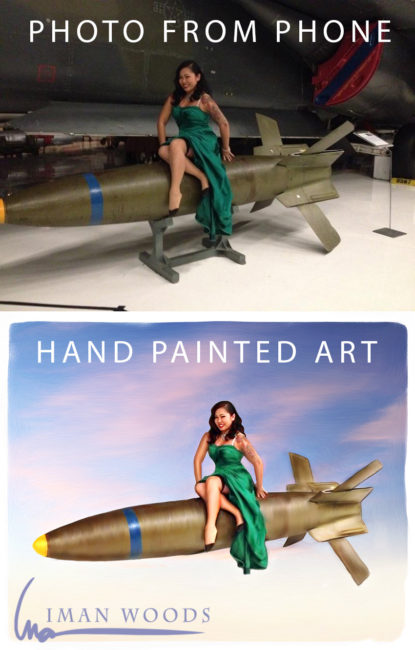 Painted pinup art before and after
