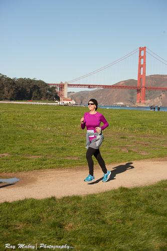 Heather's First 10k Mermaid Run with Golden Gate in background