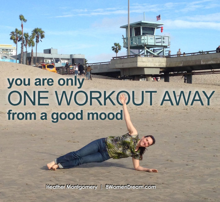 Motivational fitness photo quotes - One workout away from a good mood