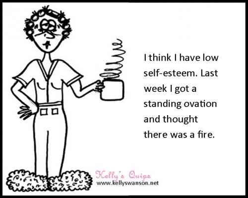 motivational keynote speaker and not very talented cartoonist Kelly Swanson original self esteem cartoon