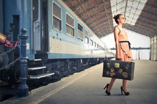 8 Must-Have Travel Items for the World Travel Dreamer - Fair Traveler With Vintage Suitcase At The Station Buy at Art.com