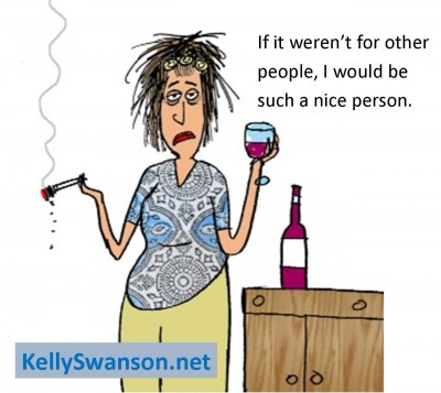 Why Asking For Help Is Vital To Reaching Your Dream: Motivational speaker Kelly Swanson cartoon on plying nice