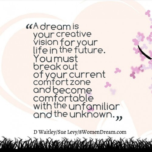 Your Big Dream Lives Just Outside Your Comfort Zone: Quote outside your comfort zone
