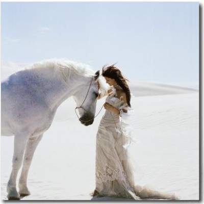 Romance: Young Woman with White Horse